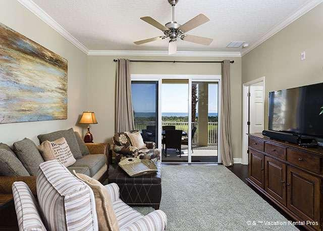 Relax in our plush living room with HDTV and ocean views