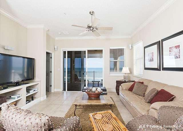 Enjoy ocean views and our HDTV - 755 Cinnamon Beach 5th Floor Ocean Front Corner Unit, Tile, HDTV - Palm Coast - rentals