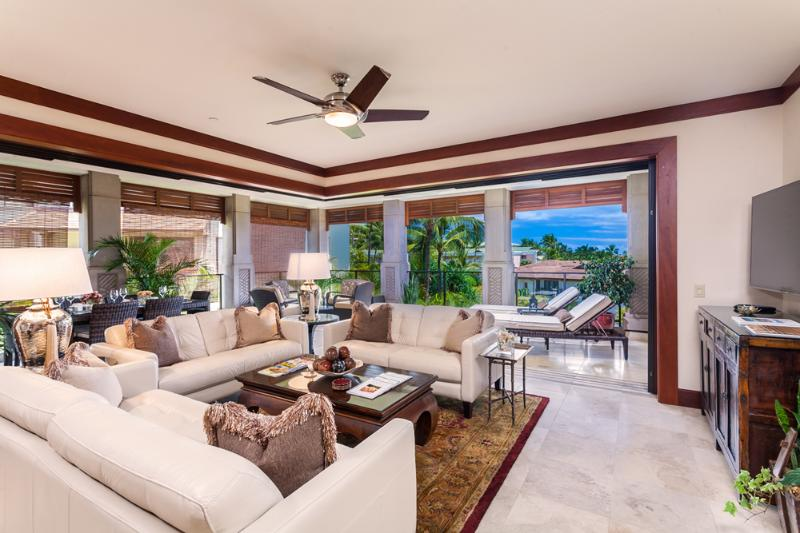 Expansive Great Room at E202 with Partial Ocean View and new Italian Leather Sofas, Lamps, Tables, Area Rug, Outdoor Patio Furniture, Wall Decor and More!
