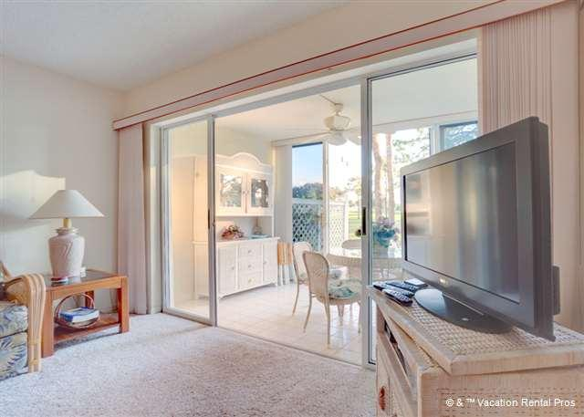 Living room with HDTV or the golf action outside? So many choice - Tangerine condo at Plantation Venice Florida, Pool, Golf Views - Venice - rentals