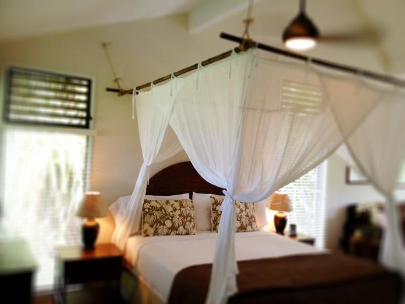 King bed with bamboo framed mosquito netting