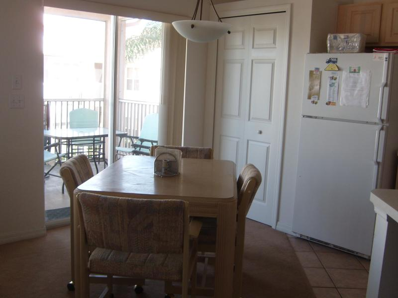 Kitchen table next to balcony