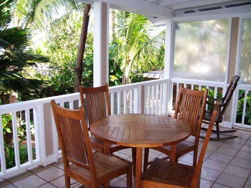Your large covered lanai overlooking our gardens with partial ocean views. - Hale Kumulaau Beachside 2bd/1ba - North Shore - rentals