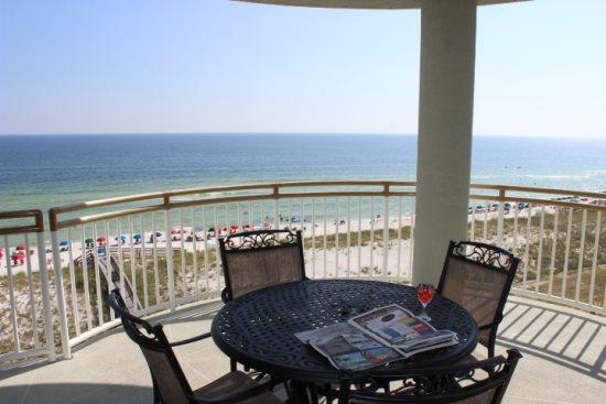 Large Balcony with a view of the Gulf and the Swimming Pool