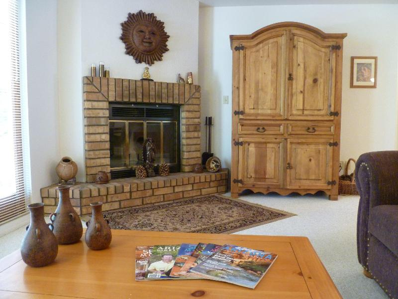B - Living Room Fireplace & Armoire