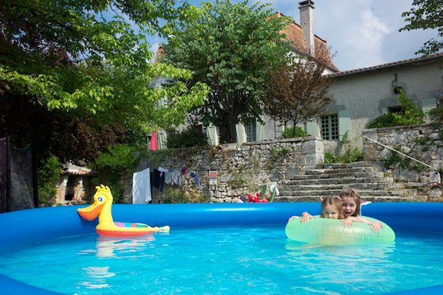 House with inflatable pool