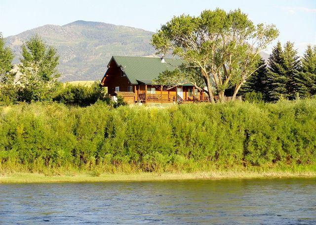 View of the cabin from the Yellowstone River.