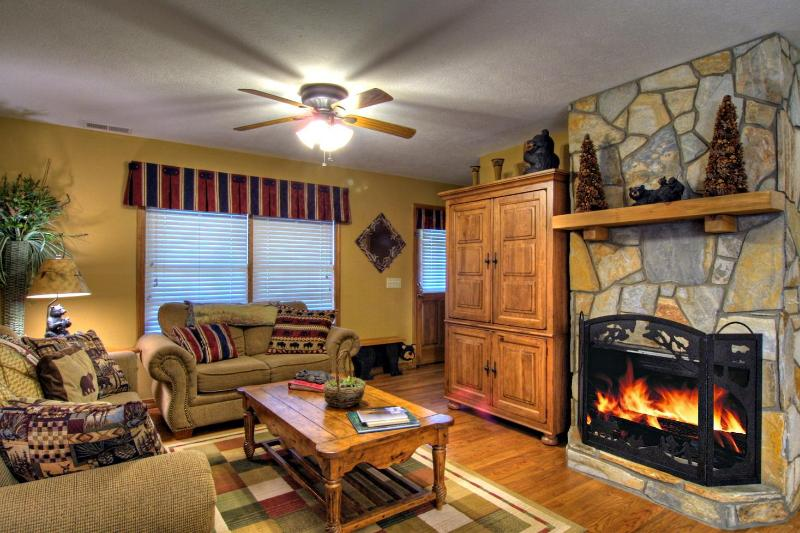 Cozy living room with beautiful remote activated gas fireplace/Satellite TV/DVD