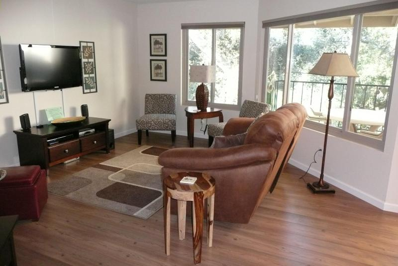 Spacious living room has 46' flat-screen HD TV, home entertainment system w/ iPod dock, DVD movies