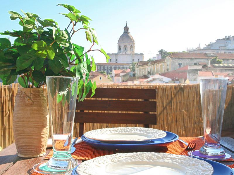 Terrace with view of National Pantheon, perfect for enjoying meals outdoors