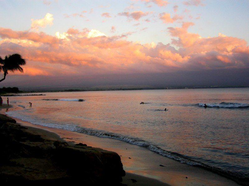Enjoy a sunset swim in the calm surf of our protected beach