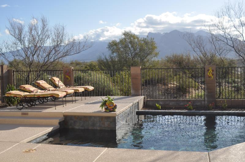 Raised deck for tanning with mountain views