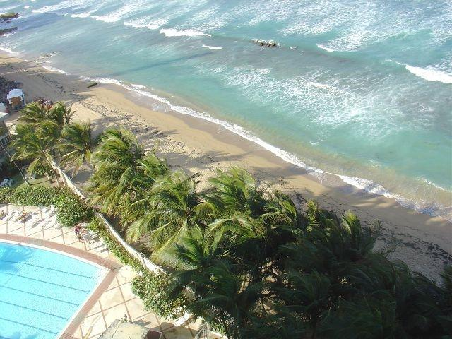 View from Apartment with Pool and Beach.JPG