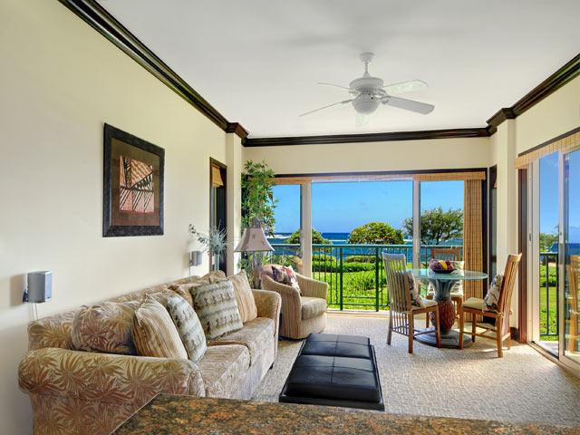 Oceanfront Living Room and Dining