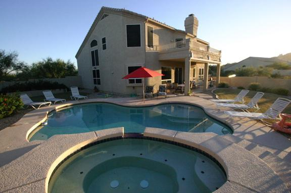 Large home includes private pool and hot tub