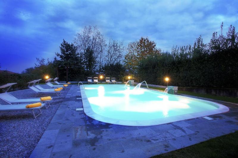 The pool as viewed at night