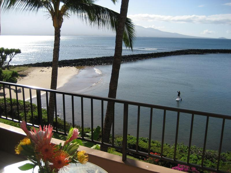 from lanai you look out at Haleakala volcano in the east