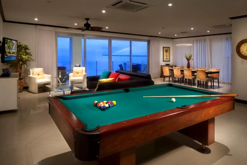 Spacious living room with pool table - 4 bedroom beach front Penthouse @ Diamante del Sol - Jaco - rentals