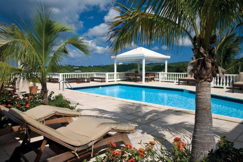 The pool and deck At Sugar Bay House, St Croix