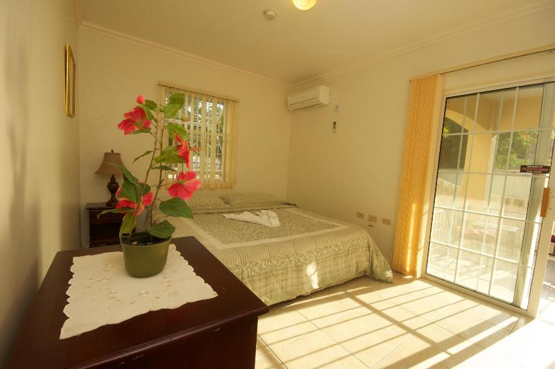King sized air conditioned bedroom