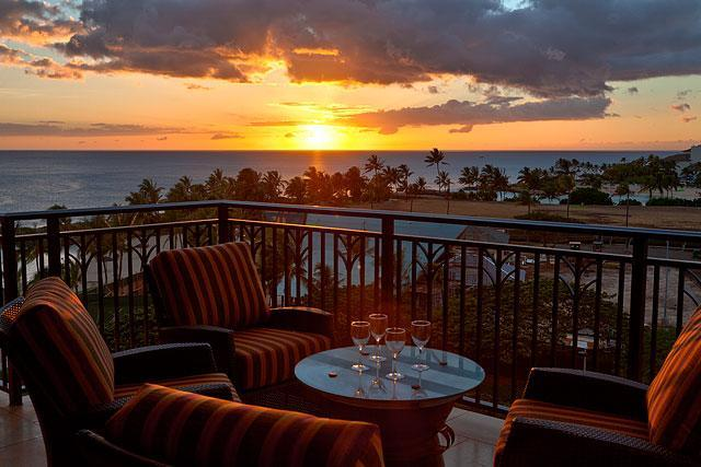 Sunset from the Lanai - The Ocean views from this 7th floor unit are also in the two bedroom suites