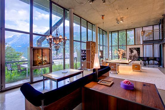The Living area provides a sense of space, light and closeness to nature - Heinz Julen Loft - Manhatten Style 300 m² - Zermatt - rentals