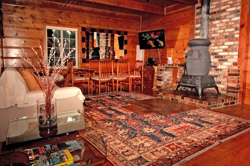 Modern Knotty Pine Cabin Living Room with Vintage Woodstove
