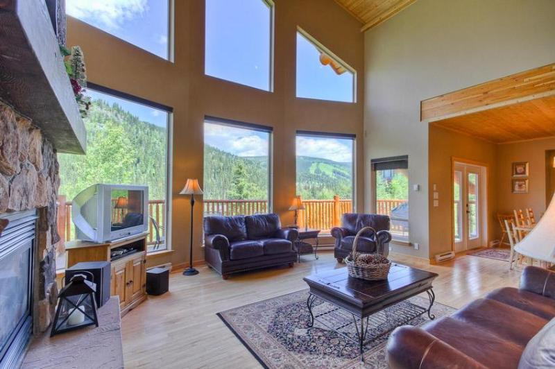 Spacious Great Room with a great view of the slopes.