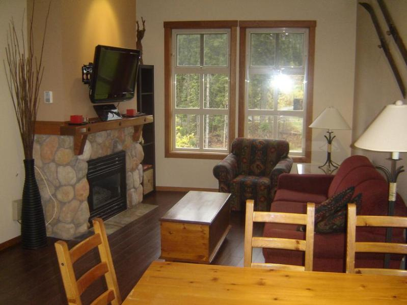 Bright open concept living/dining area has gas fireplace & high ceilings. See Photo Gallery for more pics.