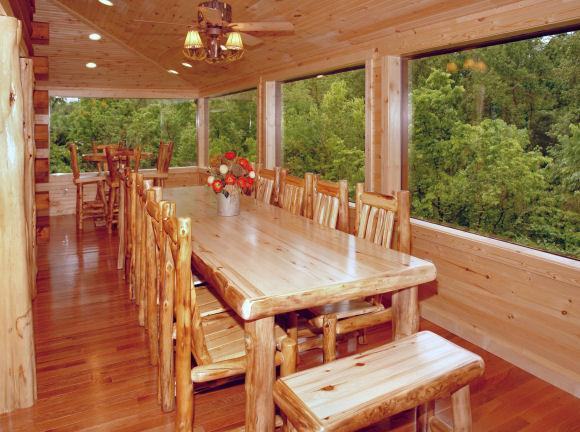 dining on glassed in porch