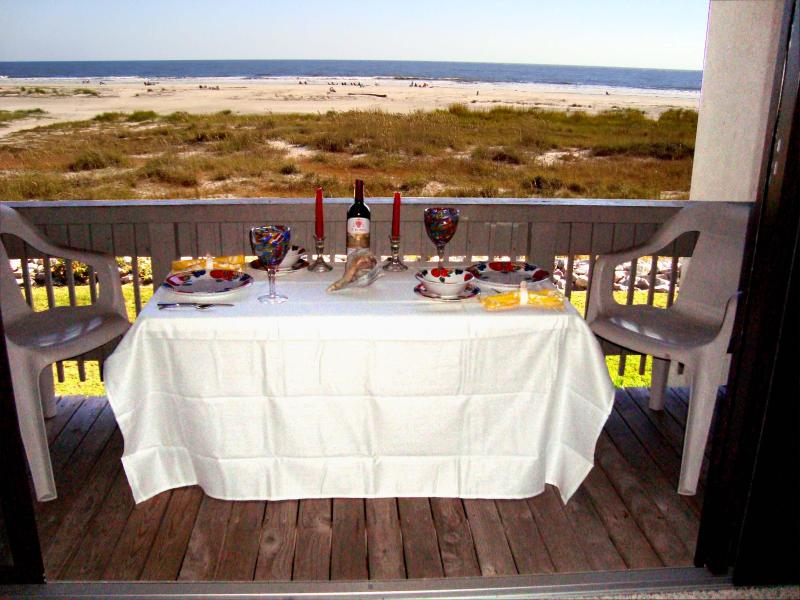 Dine Al-Fresco on Private Balcony Overlooking A Beautiful  Ocean View - Fripp Beachfront Villa - 2 Bdm, 2Bth, Club Cards - Fripp Island - rentals