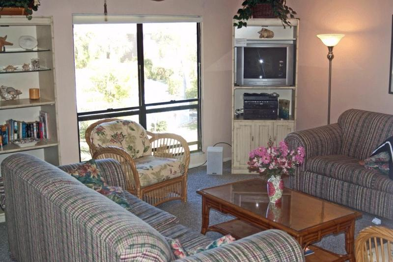 The living room is a spacious, relaxing space to hang at the end of the day