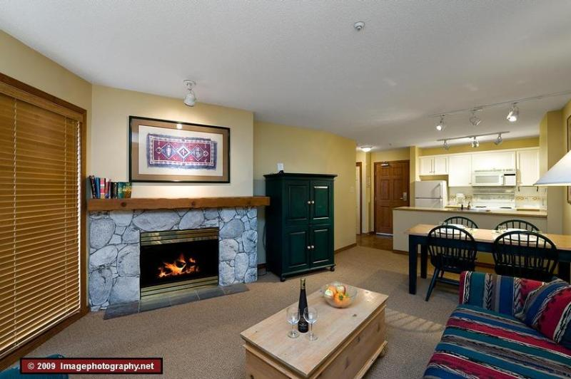 Enjoy a warm cozy evening after a day outside. Relax by the gas fireplace, enjoy a snack and chat about the epic adventures of the day. The sofa bed is in this room.