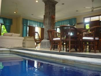 Private plunge pool located in the open air downstairs living area