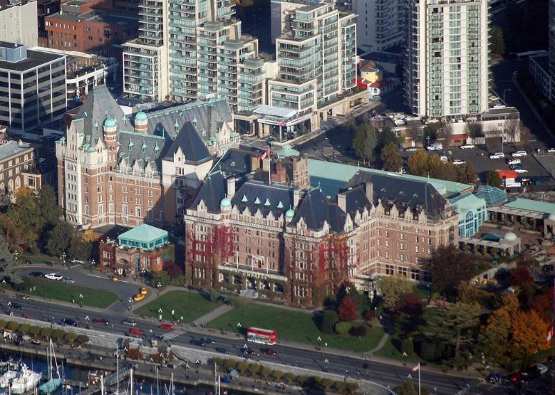 The Falls in the background of Fairmont Empress Hotel - thefallsvictoria[at]live[dot]com