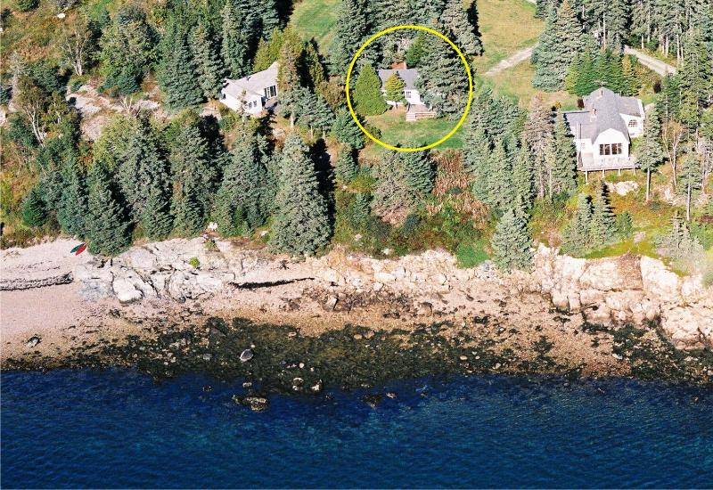 Pinelodge aerial from the bay, note the cottage inside the yellow circle.
