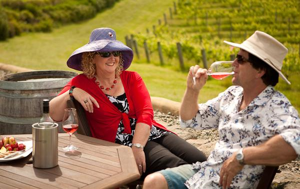 Adele and Roger relaxing at winery; 20 min cycle away.