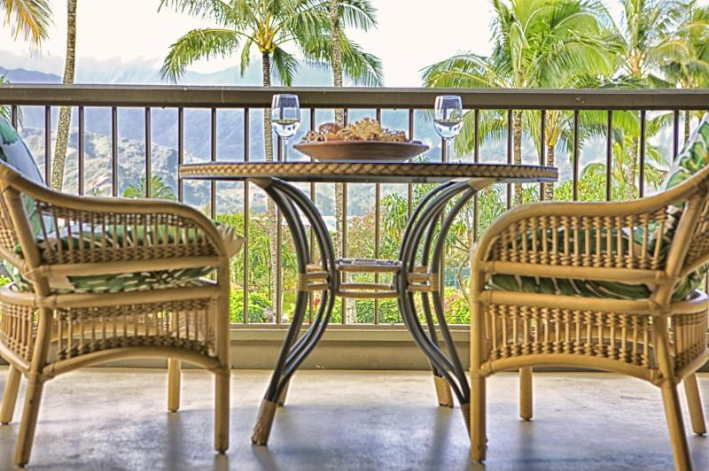 lanai with view of bay