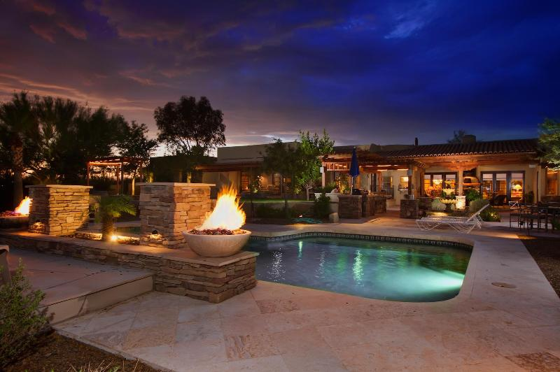 Private Lavish Pool with Waterfall and Fire Feature