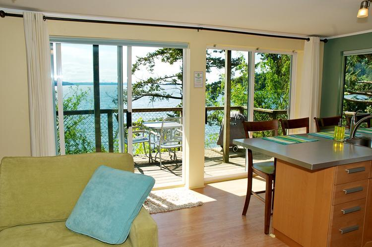 Enjoy the sunny southerly waterfont view from the suite or seaside patio deck.