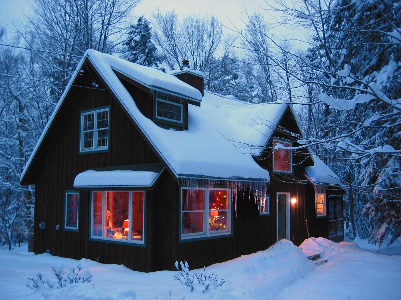 The cabin in winter.