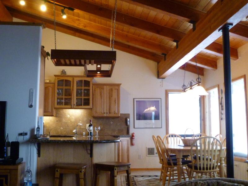 Vaulted kitchen and dining