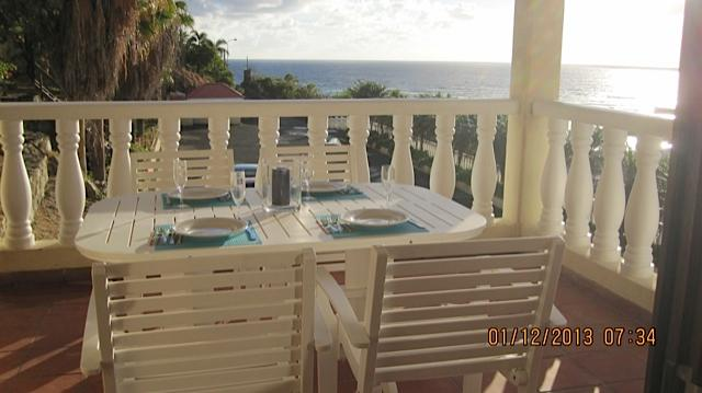 Dinning on our balconey views to St.Barts