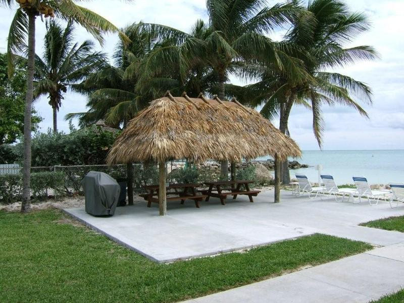 Tiki hut & grills by the ocean