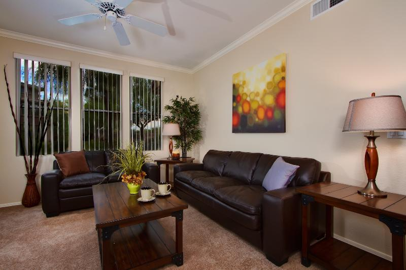 Spacious living room with HD TV!
