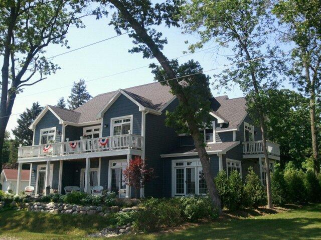 Front of lake side home