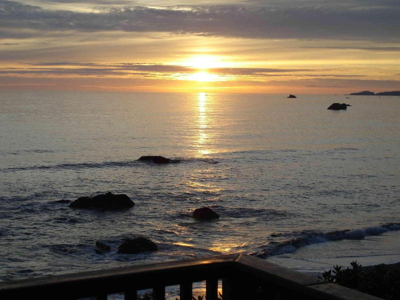 One of many beautiful sunsets we have enjoyed from the Ancient Mariner Ocean Front Vacation Cabin