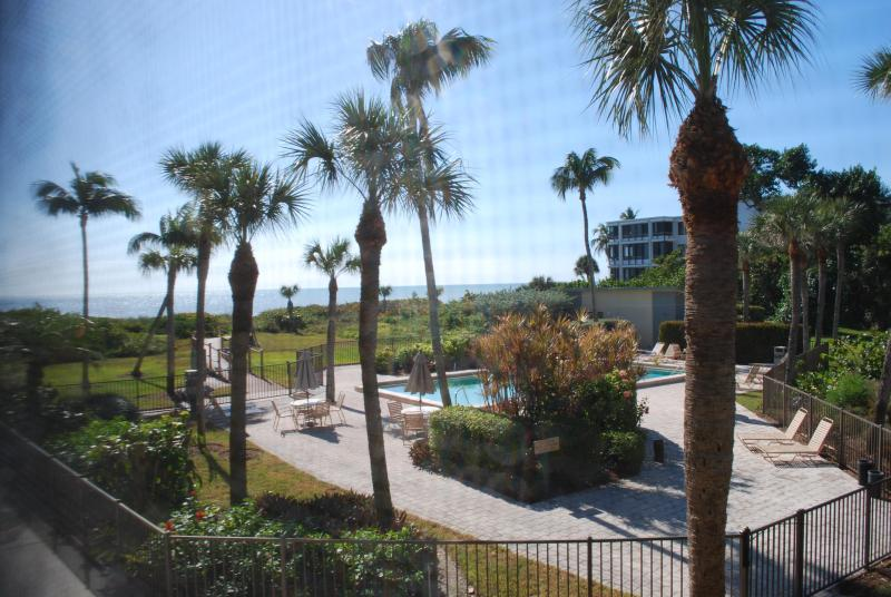 View from the Screened Lanai of the Gulf of Mexico and pool !