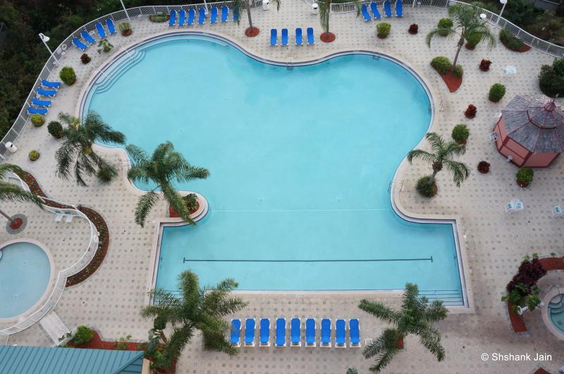 Mickey shaped Swimming pool view from private balcony; Can keep a watch on the kids from the balcony