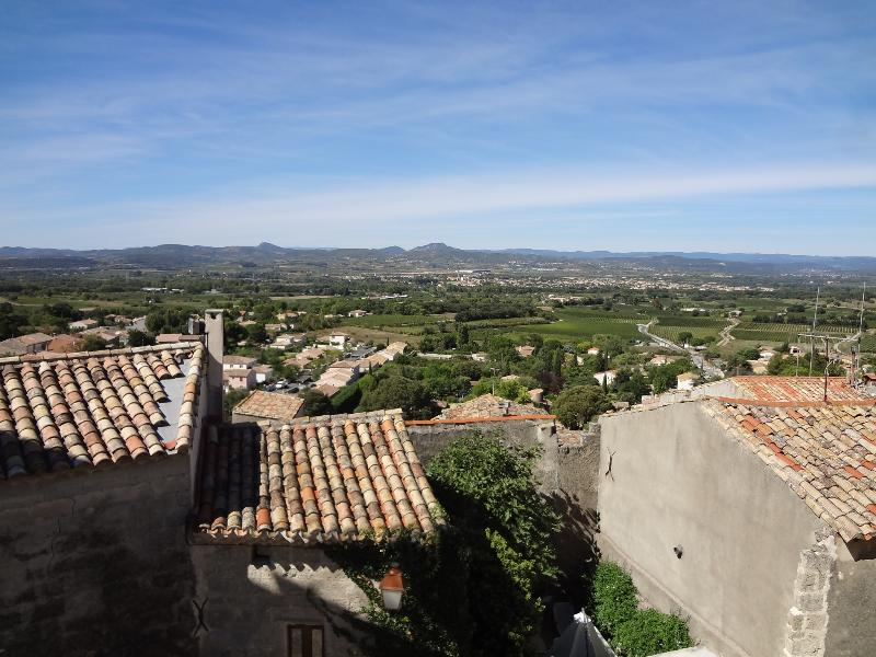 Looking out over the Herault valley from Cloche-Piochet's rooftop terrace
